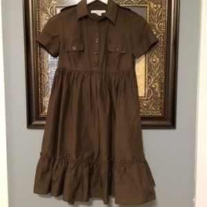 Zara brown safari 5 button full skirt dress Q116:4